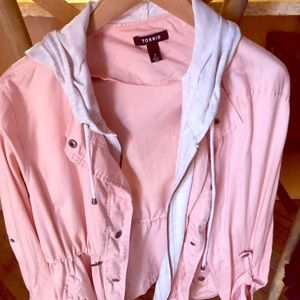 Torrid utility jacket, pink with grey cotton hood